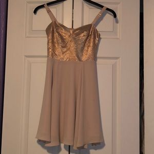 Gold and Nude home homecoming Dress.